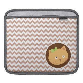 Chaton ; Brown Chevron Housses iPad