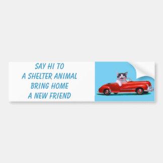 Chaton dans un convertible rouge autocollant de voiture