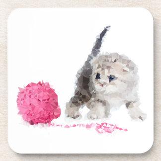 Chaton drôle adorable Low Poly mignon Dessous-de-verre