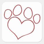 Chaton en forme de coeur de chiot de chat de chien stickers carrés