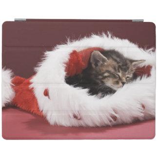 Chaton endormi dans le casquette de Noël Protection iPad