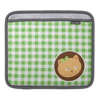 Chaton ; Guingan vert Poches iPad