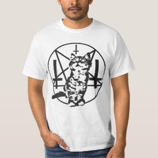 Chaton inversé de croix et de pentagramme t-shirts