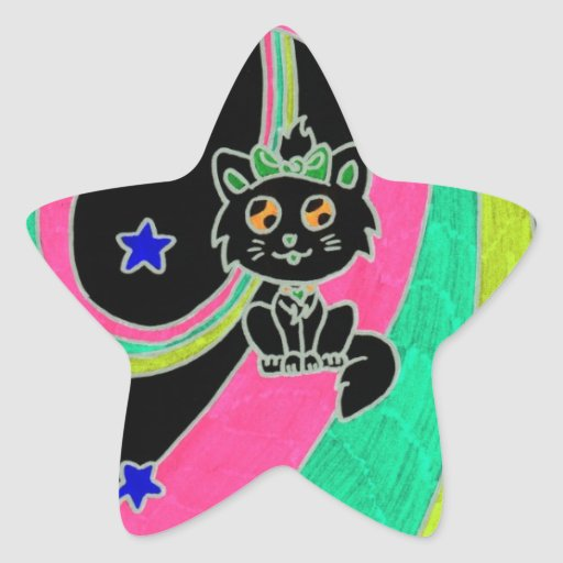 chaton mignon stickers en étoile