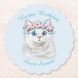 Chaton mignon d'anniversaire de sweet sixteen dessous-de-verre en papier