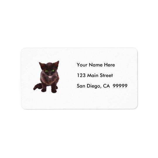 Chaton noir, yeux verts, langue rose étiquette d'adresse
