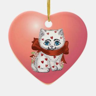 Chaton nommé fait sur commande de coeur ornement cœur en céramique