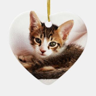chaton ornement cœur en céramique
