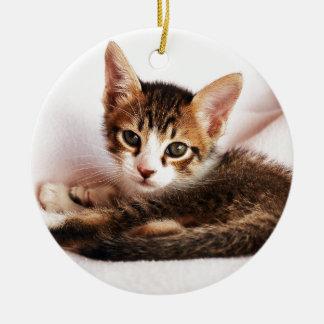 chaton ornement rond en céramique