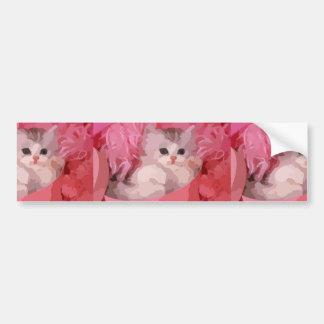 chaton pelucheux rose autocollant de voiture