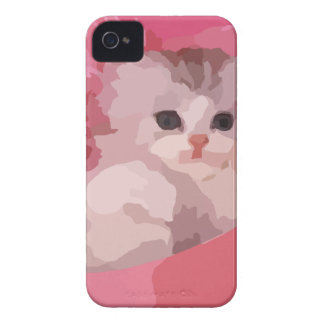 chaton pelucheux rose coque iPhone 4 Case-Mate