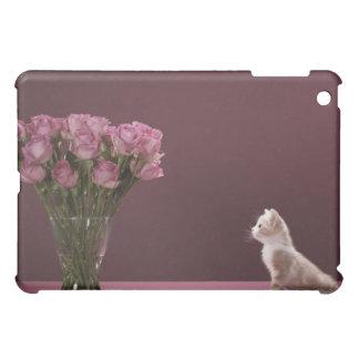 Chaton regardant le vase de roses coques iPad mini