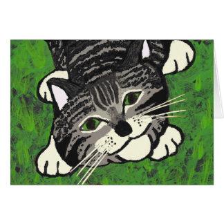 Chaton tigré espiègle carte de vœux