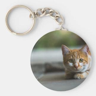 Chaton tigré orange porte-clés