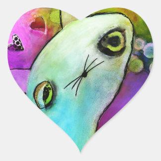 Chaton triste mignon d'oeil de scintillement de sticker cœur