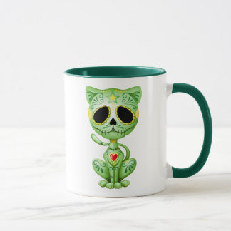 Chaton vert de sucre de zombi mugs