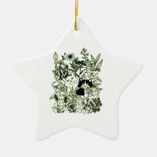 Chatons dans les fleurs sauvages ornement étoile en céramique