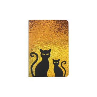 Chatons texturisés de chat noir de lueur d'or protège-passeport