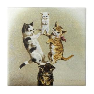 Chatons victoriens vintages mignons de chats petit carreau carré