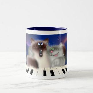 Chats au piano mug bicolore