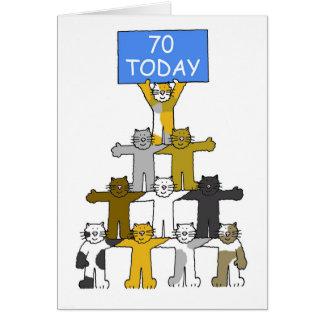 Chats célébrant le soixante-dixième anniversaire carte de vœux