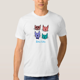 Chats colorés de bande de musique fraîche de t-shirt