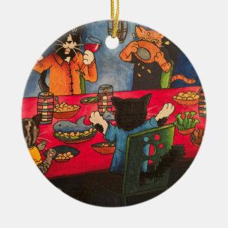 Chats de festin de nuit ornement rond en céramique