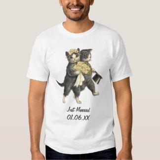 Chats de mariage - juste personnaliser mariée t-shirts