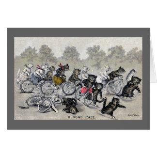 Chats d'équitation de bicyclette cartes