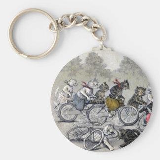 Chats d'équitation de bicyclette porte-clés