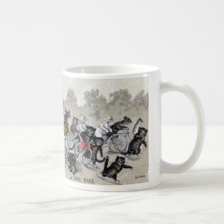 Chats d'équitation de bicyclette mug blanc