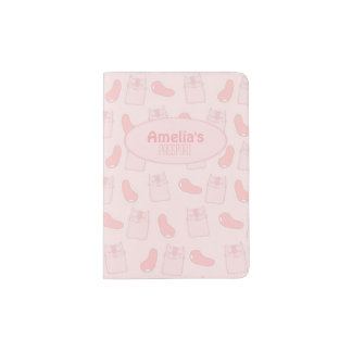 Chats et bonbons mous roses protège-passeport