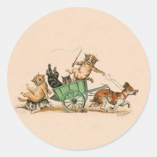 Chats et chien drôles ; Art vintage mignon par Sticker Rond
