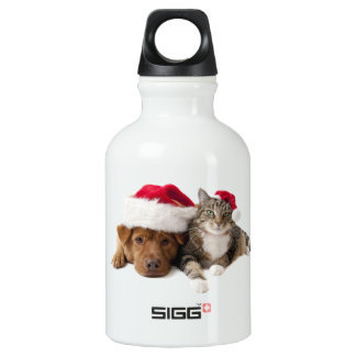 Chats et chiens - chat de Noël - chien de Noël Bouteille D'eau En Aluminium
