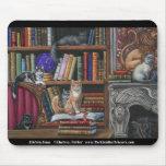 Chats et livres Mousepad de lions de bibliothèque Tapis De Souris