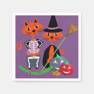 Chats heureux mignons de partie de Halloween Serviette Jetable