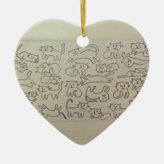 Chats heureux ornement cœur en céramique