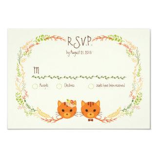 Chats lunatiques de forêt (crèmes) épousant RSVP Carton D'invitation 8,89 Cm X 12,70 Cm