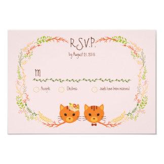 Chats lunatiques de forêt (rougissez) épousant carton d'invitation 8,89 cm x 12,70 cm