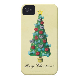 Chats mignons sur l'arbre de Noël Coque Case-Mate iPhone 4
