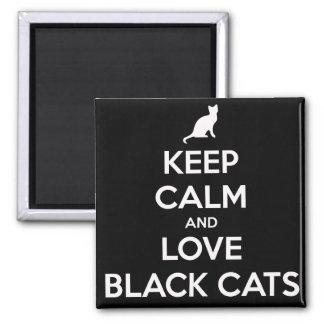 Chats noirs d'amour aimant de carré de 2 pouces