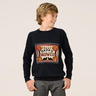 Chats noirs de citrouilles heureux vintages de sweatshirt