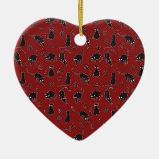 Chats noirs et motif de symboles de sorcière ornement cœur en céramique