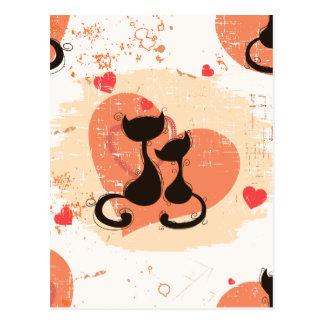 Chats romantiques dans l'amour carte postale