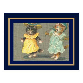 Chats sautants vintages de carte postale