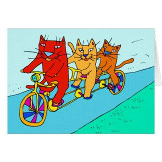 Chats sur la carte d'art de bicyclettes