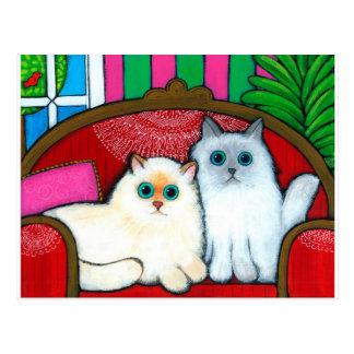 Chats sur le divan carte postale