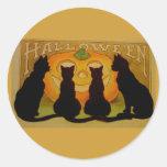 Chats vintages et Jack O'Lantern de Halloween Adhésifs Ronds