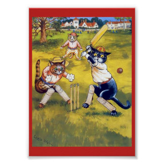 Chats vintages jouant au cricket posters