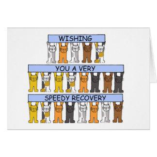 Chats vous souhaitant un prompt rétablissement carte de vœux